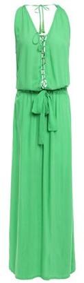 Melissa Odabash Lace-up Tassel-trimmed Voile Maxi Dress