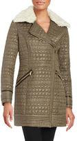 Via Spiga Quilted Faux Fur-Trimmed Coat