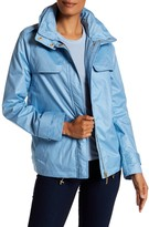 Ellen Tracy Chintz Golf Jacket with Stowaway Hood