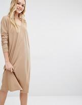 Daisy Street V Neck Midi Dress With Long Sleeve In Rib