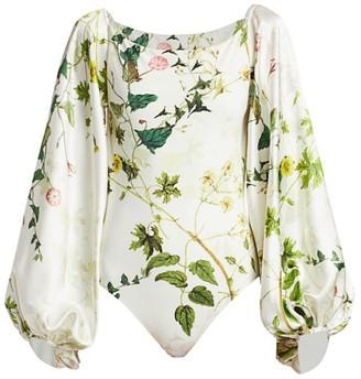 Adriana Iglesias Nube Wildflower Stretch-Silk Puff-Sleeve Bodysuit