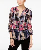INC International Concepts Petite Printed Pleated Blouse, Only at Macy's