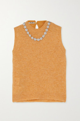 Miu Miu Crystal-embellished Wool Tank - Yellow