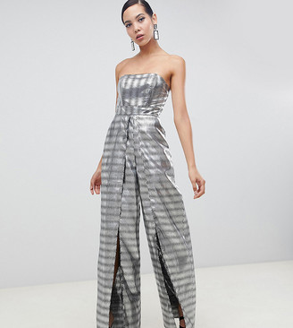 Asos Tall DESIGN Tall Structured Bandeau Jumpsuit with Split Leg in Silver Jacquard
