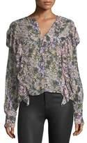 Etoile Isabel Marant Jelby Split-Neck Cotton Blouse