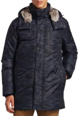 Madison Supply Camouflage Fox Fur-Trim& Rabbit Fur-Lined Down Parka