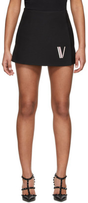 Valentino Black Sheepskin Logo Shorts