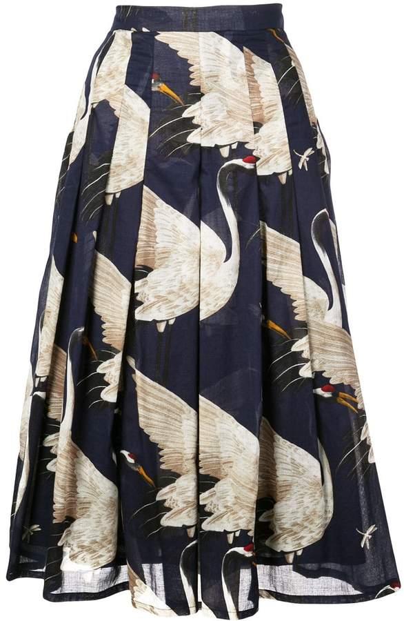 Samantha Sung Zeller crane print pleated skirt