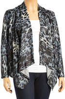 Gray Cheetah-Accent Open Cardigan - Plus