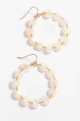 francesca's Remi Flower Circle Drop Earrings - Iridescent