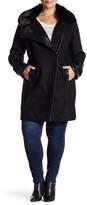 Via Spiga Faux Fur Wool Blend Asymmetrical Zip Front Coat (Plus Size)