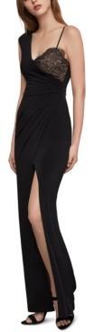 BCBGMAXAZRIA One-Shoulder Lace-Inset Gown