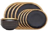 Godinger Golden Onyx 12-Piece Dinnerware Set, Service for 4