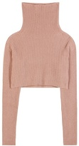 Valentino Knitted wool and cashmere cropped turtleneck top