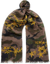 Valentino - Fringed Printed Cotton And Linen-blend Voile Scarf