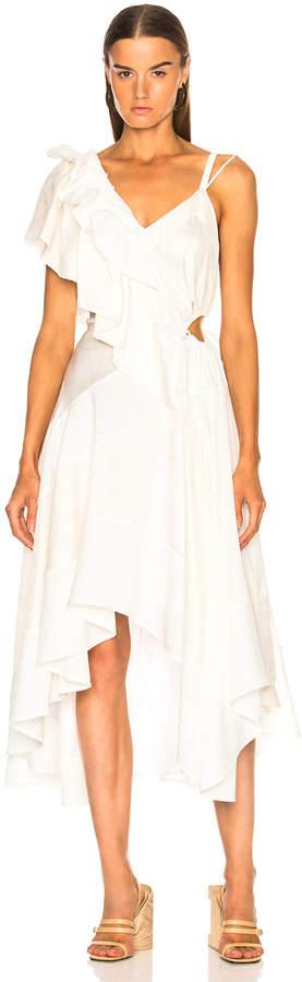Loewe Ruffle Dress in White | FWRD