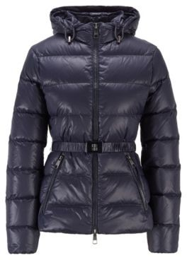 HUGO BOSS Slim-fit down jacket with baffle-quilting and belt