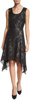 Diane von Furstenberg Nikkole Laser-Cut Leather Handkerchief-Hem Dress, Black
