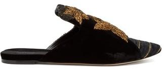 Stelle Sanayi 313 Star-applique Velvet Backless Loafers - Womens - Black Gold