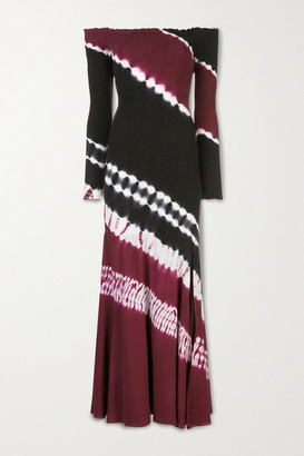 Altuzarra Shibuya Off-the-shoulder Tie-dyed Silk-jersey Maxi Dress - Burgundy