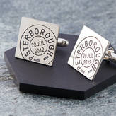 Nicola Crawford Personalised Silver Square Postmarked Cufflinks