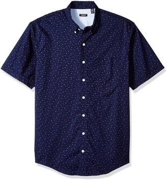 Izod Men's Big Saltwater Chambray Plaid Short Sleeve Shirt