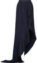 Juan Carlos Obando - Asymmetric Wrap-effect Ruffled Silk-jacquard Maxi Skirt - Navy
