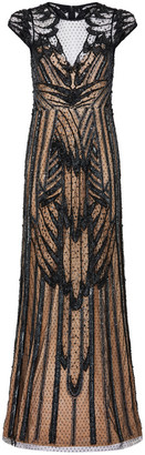 Aidan Mattox Plunge Neck Cap Sleeve Gown