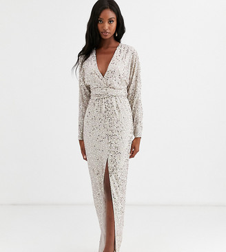 Asos Tall DESIGN Tall maxi dress with batwing sleeve and wrap waist in scatter sequin-Gold