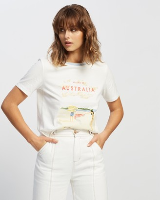 Ryder - Women's White Printed T-Shirts - Beaches of Australia Tee - Size One Size, 6 at The Iconic