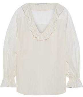 Stella McCartney Audrey Tulle-paneled Ruffled Silk Crepe De Chine Blouse