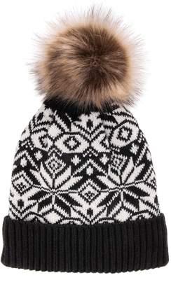 Muk Luks Women's Wool Blend Pom Cuff Cap