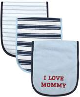 Luvable Friends 3 Piece Burp Cloth with Fiber Filling for Boys, I love Mommy