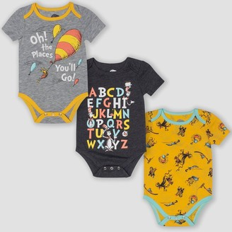 Dr. Seuss Baby 3pk Short Sleeve Bodysuits - Yellow/Gray