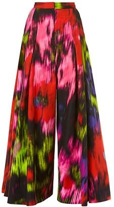 Carolina Herrera Wide-Leg Pleated Cotton & Silk Trousers