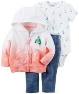 Carter's Baby Girl Dip-Dye Sweatshirt, Bird Bodysuit & Jeggings Set