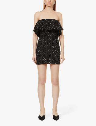 Self-Portrait Frill-trim embellished woven mini dress