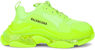 Balenciaga Triple S Clear Sole Sneakers in Fluo Yellow | FWRD