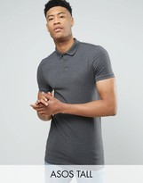 Asos TALL Longline Muscle Polo Shirt In Charcoal Marl
