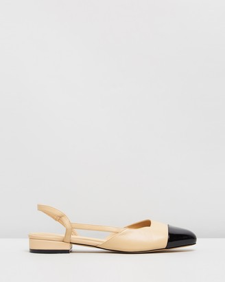 Atmos & Here Atmos&Here - Women's Neutrals Ballet Flats - Monaco Leather Flats - Size 5 at The Iconic