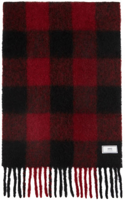 Ami Alexandre Mattiussi Red and Black Mohair Checkered Scarf