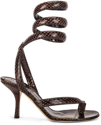 Bottega Veneta Printed Python Ankle Twist Heels in Chocolate | FWRD