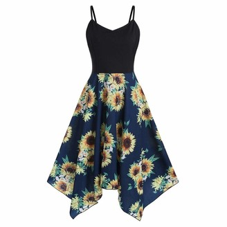 Zerototens Women Dress Zerototens Vintage Dresses Women Sunflower Print 1950S Retro Asymmetric Camisole Strappy Sleeveless Formal Evening Wedding Cocktail Party Swing Dress Occasion Wedding Guests Outfits Navy