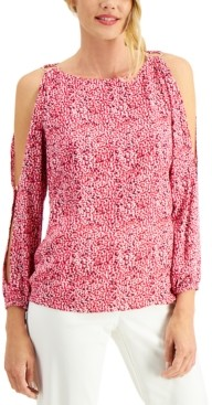 JM Collection Petite Del Mar Dots Cold-Shoulder Top, Created for Macy's