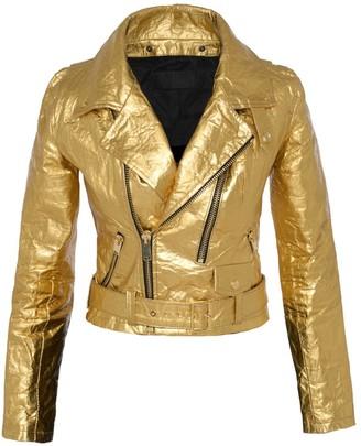 Altiir Women's Neo-Classic Biker Jacket In Gold
