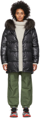 Yves Salomon Army Black Down Fox Trim Jacket