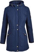 Weatherproof Ink Blue Hooded Quilted Coat
