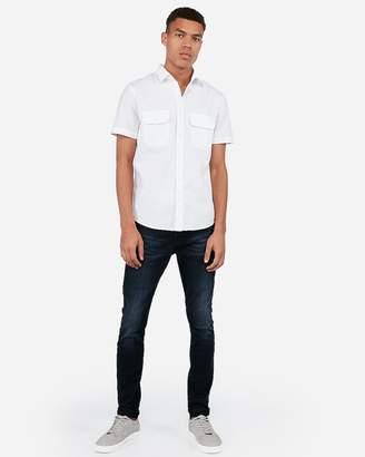 Express Slim Double Pocket Short Sleeve Oxford Shirt