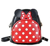 Finex® Minnie Mouse style Small 2-in-1 Crossbody bag/ Mini Backpack - Multifunction Travel Mini Handbag with Long Shoulder Strap (Red/Black)