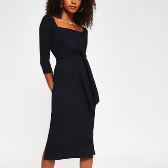River Island Womens Black square neck knot waist dress